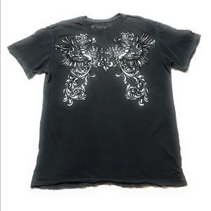 Affliction Dragon Wing Cross Distressed Shirt Gray